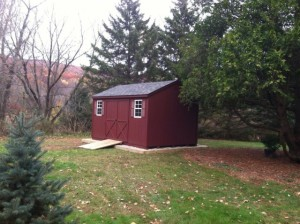 Slideshow Image - All Red Painted siding with optional stone site work and ramp.