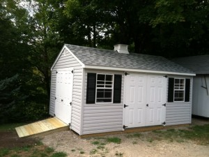 Slideshow Image - Large A-Frame with Vinyl Siding, Extra Single Door, Upgraded Windows and optional ramp.