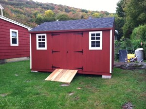 Slideshow Image - Red and white with optional scroll hinges and ramp.