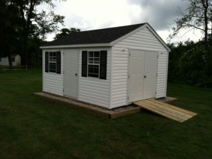 Slideshow Image - Vinyl Sided with additional entry door. optional site prep and ramp.