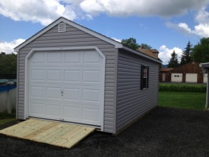 Large A-Frame with Optional Vinyl Siding, Overhead Door and Ramp